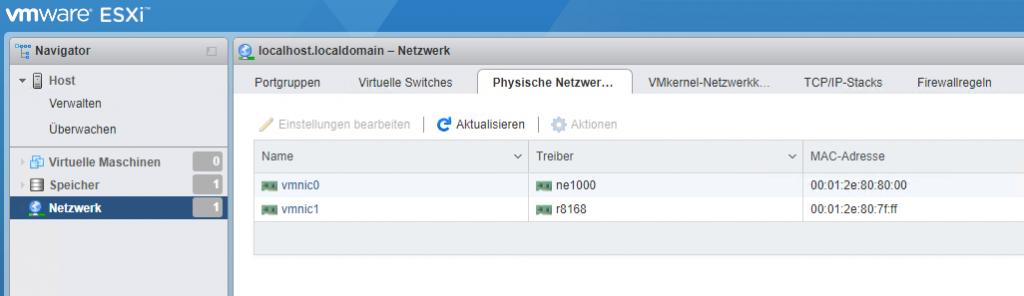 vmware ESXF  Navigator  ä Host  Verwalten  Überwachen  Virtuelle Maschinen  Speicher  Netzwerk  Q localhost.localdomain — Netzwerk  Portgruppen  Virtuelle Switches  Physische Netzwer...  VMkernel-Netzwerkk..  TCP/IP-stacks  MAC-Adresse  Firewallregeln  e Aktualisieren  Einstellungen besteiten  Name  vmnicl  Aktionen  Treiber  ne1000  r8168